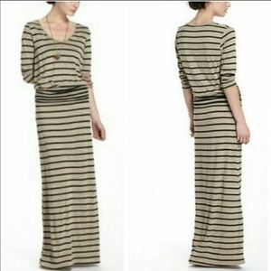 Anthropologie Puella Drop Waist Striped Maxi Dress